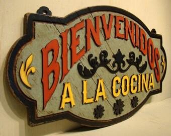 Bienvenidos a la Cocina Mexican Cocina Mexican Decor La Cocina Bienvenidos Mexican Kitchen Rustic Decor Rustic Welcome Sign Rustic Wood Sign