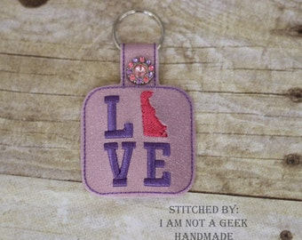 DELAWARE LOVE  - In The Hoop - Snap/Rivet Key Fob - DIGITAL Embroidery Design