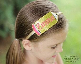 Pencil Headband Slip On  - Back to School - DIGITAL EMBROIDERY DESIGN