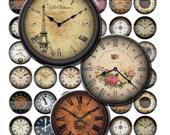 Antique Clock Faces Vintage Timepieces Digital Images Collage Sheet 30 mm Circles 8.5x11 & 4x6 INSTANT Download OC41