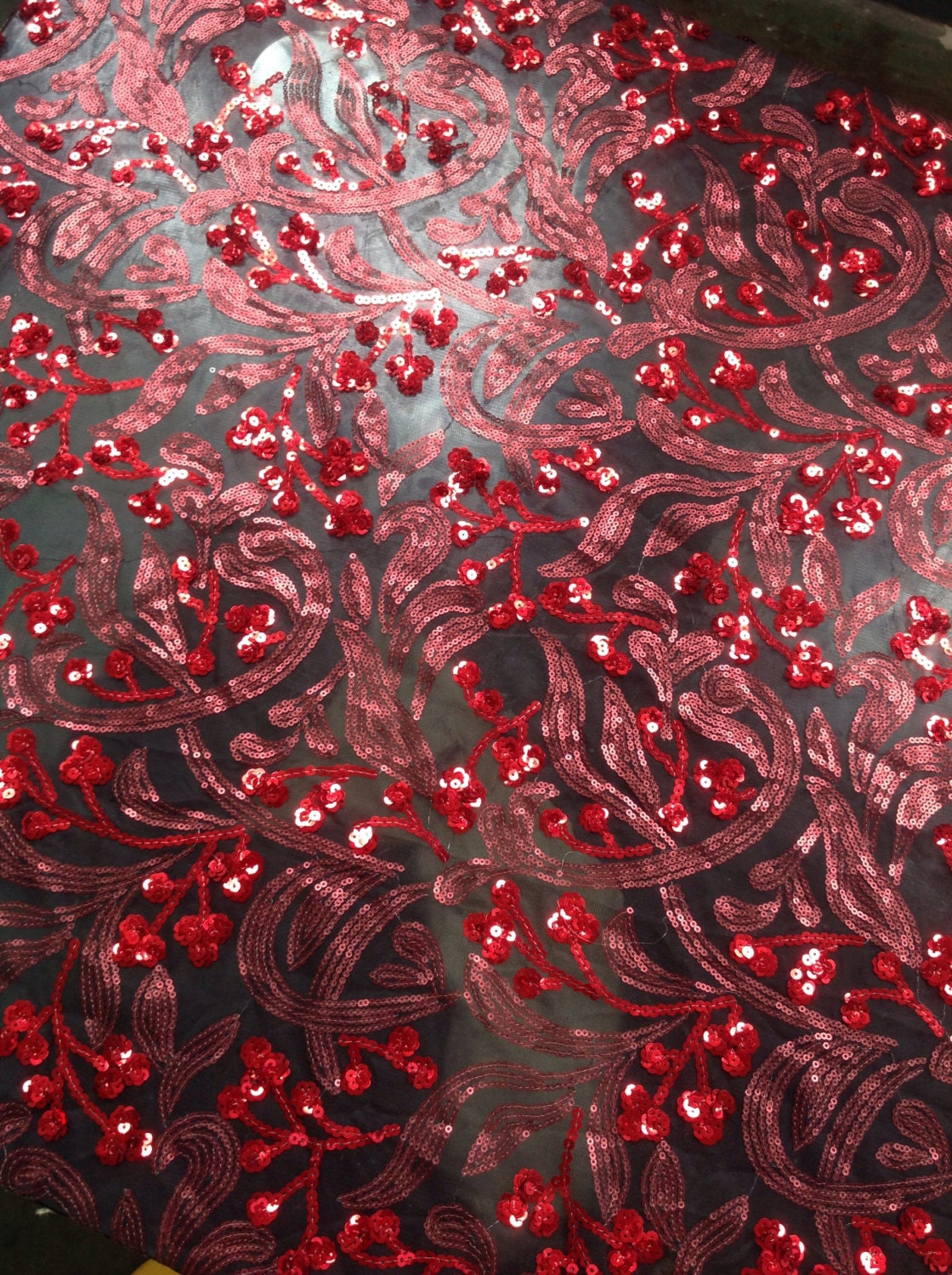 Red floral sequin fabric dress sequin fabric sequin by for Sequin fabric