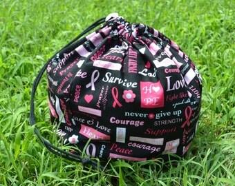Breast Cancer Support Medium Drawstring Bag