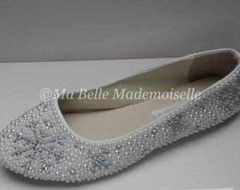 Rhinestone Crystal Snowflake Bridal Shoes, Snowflake Flat Shoes, Snowflake Ballerina Shoes, Snowflake Bridal Shoes, Snowflake Wedding Shoe's