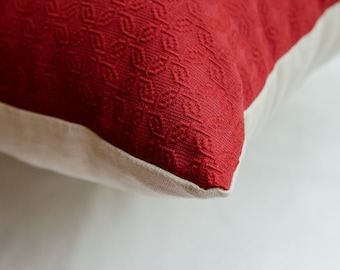 Red Geometric Pillow Cover
