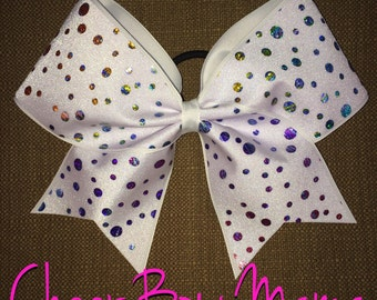 White Cheer Bow with Rainbow Dots