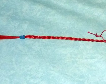 Red synthetic hair key chain #6
