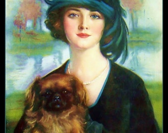 Beautiful 8x10 Canvas Print of a lady with her Pekinese puppy, dog animal