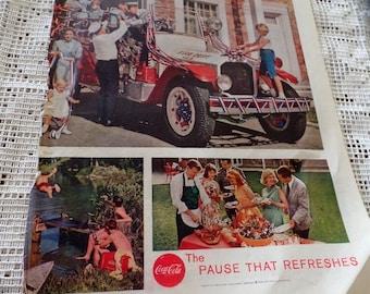 Original 1959  Coke/ Coca Cola ad.  Features people getting ready for a patriotic parade.
