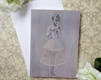 les cage aux fille 5 x 7 inch blank watercolor greeting card woman with birdcage print
