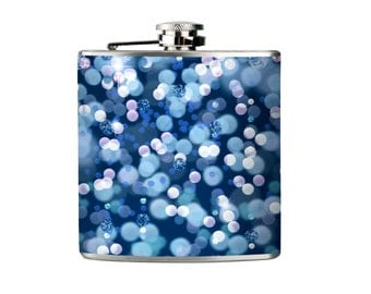 Blue Flask - Party Flask - Wedding Flask - Blue Glitter Flask - Blue Wedding - Glitter Bokeh- Tipsy Flask (341)