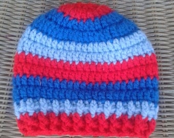Crochet baby boy hat, blue and red beanie, baby boy striped beanie, royal blue, light blue, red, baby, toddler child sizes, tri color beanie