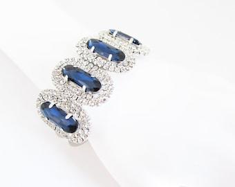 Large Silver Rhinestone and Navy Blue Crystal Cuff Bracelet, Blue Bridal Cuff, Wedding Bracelet, Navy Crystal Bangle, Blue Bride Bracelet