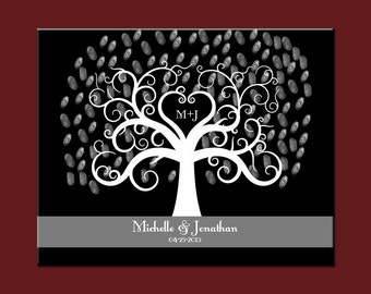 Modern Guestbook Alternative, Elegant Wedding Thumbprint Tree, Black and Grey Wedding Decor, Wedding Tree Print, Wedding Thumbprint Tree