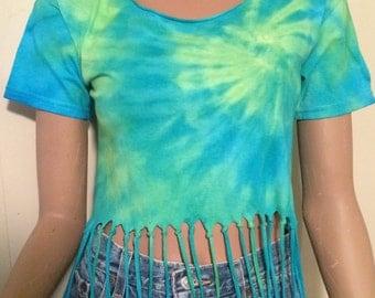 Tie Dye Fringe Crop Top
