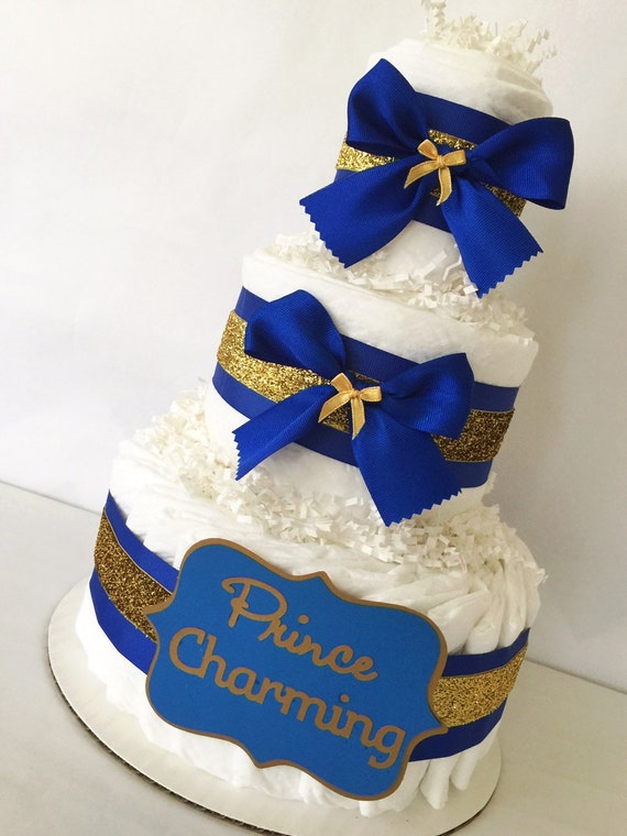 Prince Charming Diaper Cake In Royal Blue And By