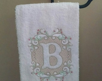 Monogrammed Hand Towel/Embossed Monogrammed Single Letter Terry Hand Towel/Personalized Hand Towel/Bathroom Decor/Wedding Gift/Housewarming