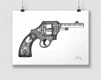 Black and white print of original illustration art poster PIRATE PISTOL