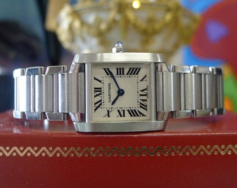 Ladies CARTIER Tank Francaise Ref. 2384 Stainless Steel Roman Numeral Watch