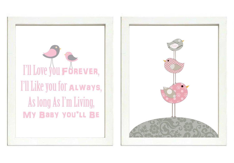 Pink Grey Girls Nursery Art Print Set of 2 Bird Baby Nursery Print Girl Child Kid Room Wall Decor Il