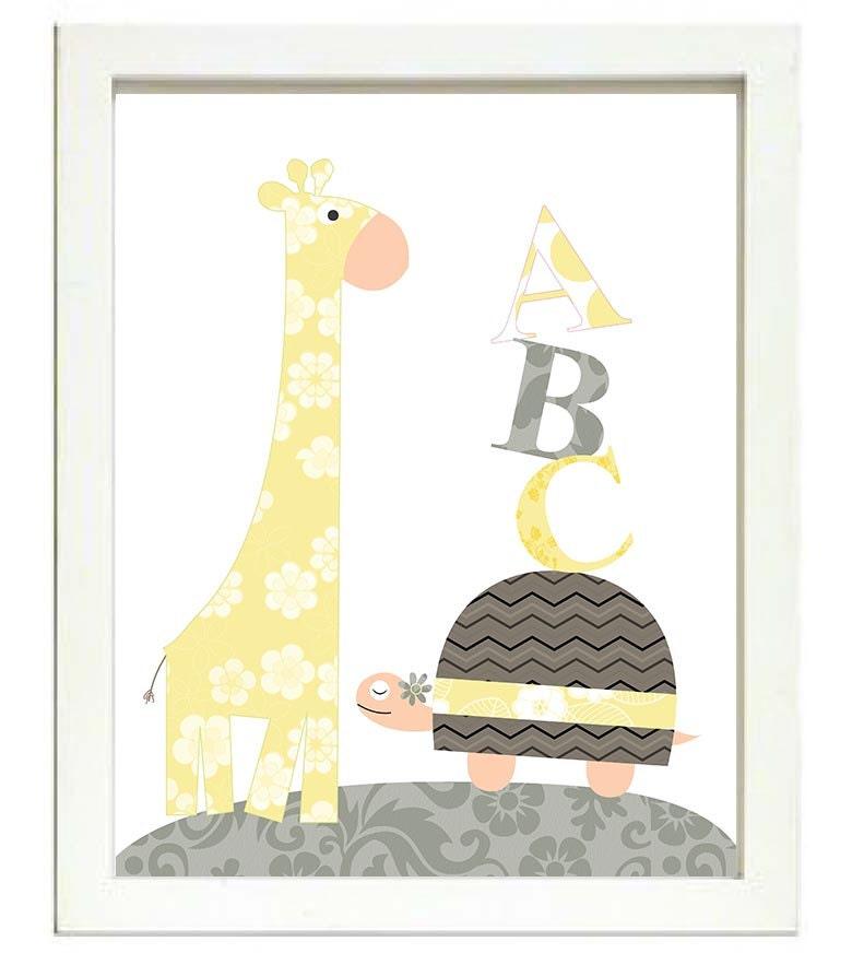 Turtle Giraffe ABC Nursery Art Nursery Print Baby Art Animal Gray Grey Yellow Flowers Print Wall Art