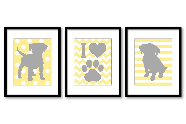 Puppy Dog Nursery Art Puppy Prints Set of 3 Prints Yellow Grey Stripes Chevron Polka Dots Baby Wall