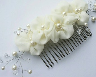 Ivory flower hair comb Flower hair accessory Wedding hair accessory