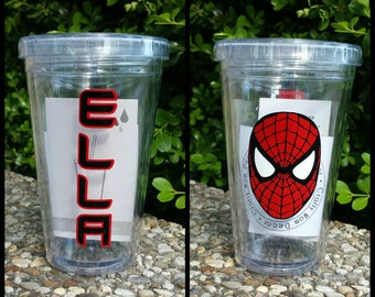 Personalized Spiderman Kids Acrylic Tumbler