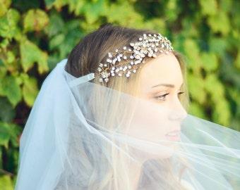 THE GRACE Bridal Crystal Wedding Headpiece Hair Jewelry Crystals Bridal Hairstyle Hair Accessory Boho Head Piece Crown Tiara Flower Girl