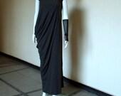 Maxi Black Dress / Black Kaftan / Asymmetrical Draped Loose - Fitting Long Dress / Short Sleeves Dress by JMSTYLE
