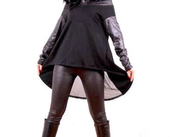 Hooded Black Tunic / Loose Leather Jersey Tunic / Modern Contemporary Edgy Streetwear / Extravagant Top / Black Tunic