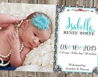 Baby announcement- Damask & Photo