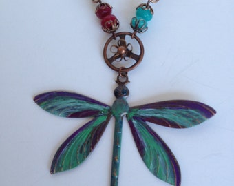 Painted Dragonfly Vintaj Necklace
