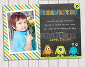Little monster thank you card, Monster thank you note, Monster party printable, Monster Birthday Invitation, first birthday, 1st birthday