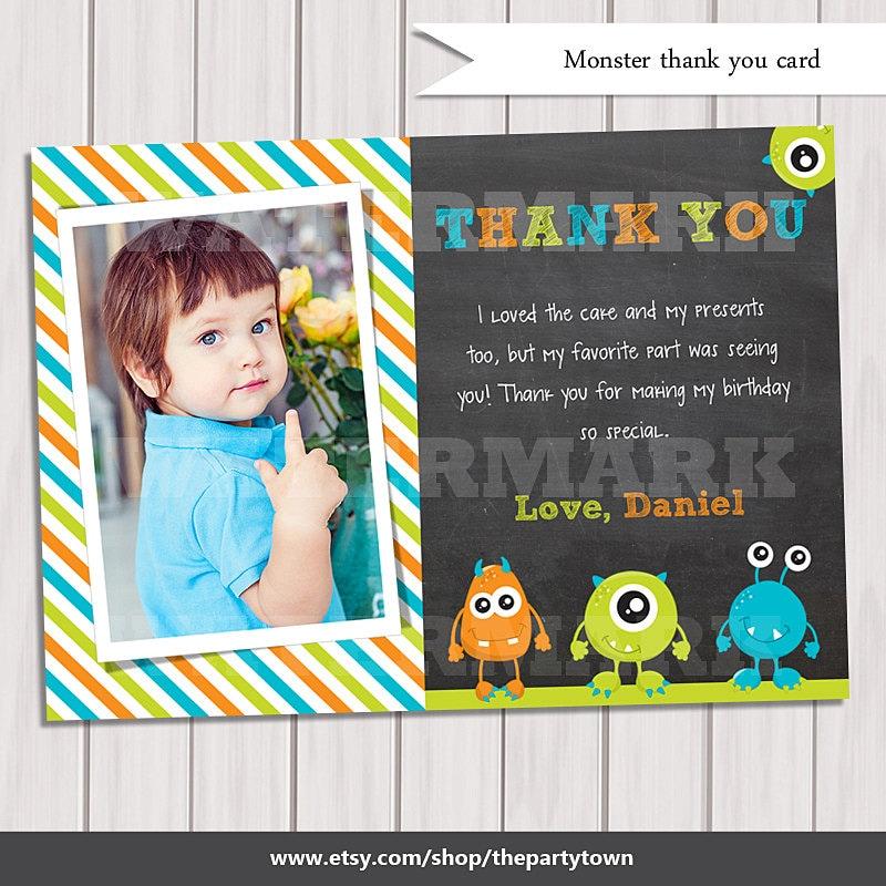 Little Monster Thank You Card Monster Thank You Note Monster - Children's birthday thank you notes