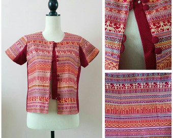 Vintage Hmong shirt jacket | fitted short sleeve Thai ethnic tribal traditional fabric Hill Tribe