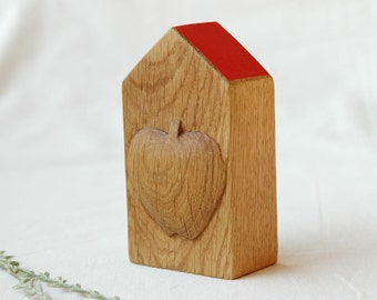Miniature house,wooden house with hand carved apple,small house