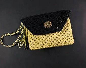 Wristlet, Boho, Purse, Crochet, Leather Interior, Coin Purse, Handmade, Yellow and Black