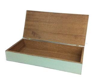 Awesome Wooden Storage Box, Trinket Box, Rustic Blue Box, Remote Control Box, Home
