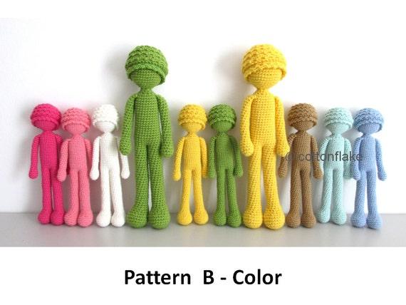 Amigurumi Doll Body : Pattern B Color doll amigurumi crochet human body