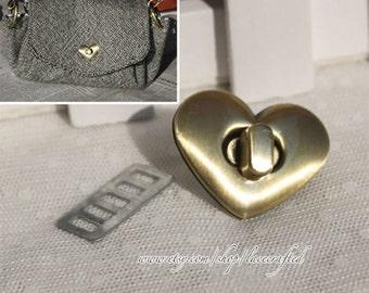 5set 3.2x2.5cm Brushed Brass Purse Twist Lock Closure Heart Turn Lock Bag Fastener Bag Twist Lock Bag Turn Lock