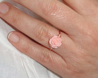 Rose ring, Rose gold rose wire ring, Coral rose ring, Pink coral Rose ring, Flower ring, Pink flower ring, Flower girl gift