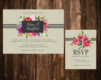 Pink Floral and Gray Wedding Invitations; Printable OR set of 25