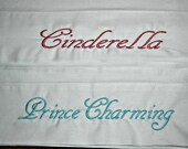 Cinderella and Prince Charming Custom Pillow Cases, Custom Embroidered Pillow Cases