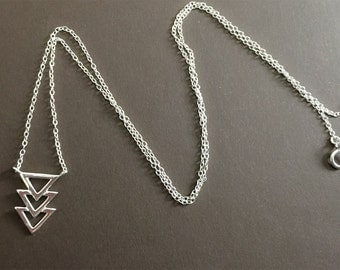 V Necklace, Sterling silver chevron necklace, Triangle Necklace, Sterling Silver Necklace, Simple Necklace , Geometric Necklace