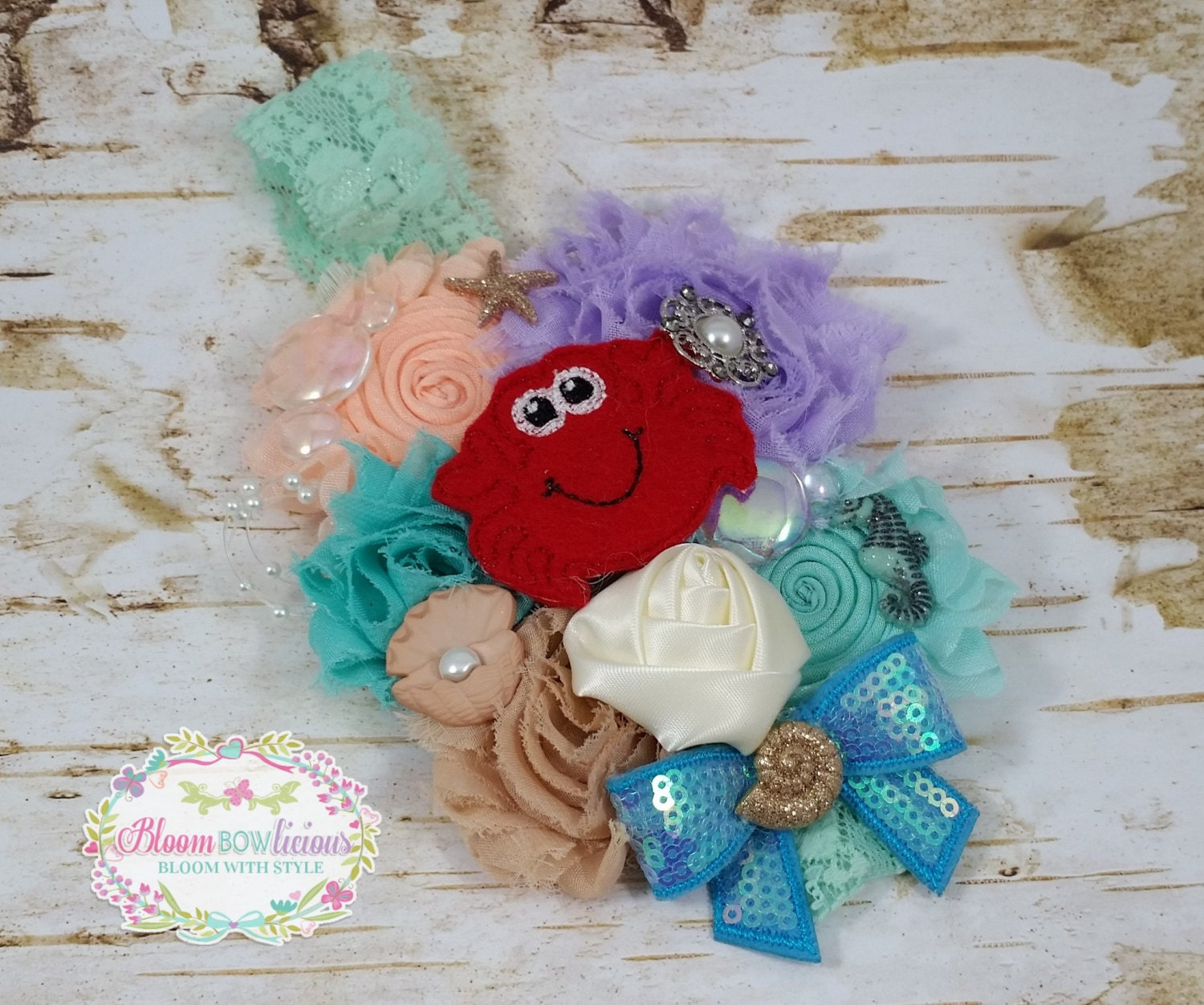 under the sea headband-crabby party in the by Bloombowlicious