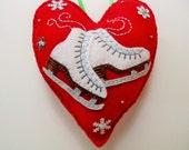 Special Listing for Karen / Do Not Purchase Unless You Are Karen / Ice Skates Felt Heart Ornament / Ice Skates Christmas Ornament