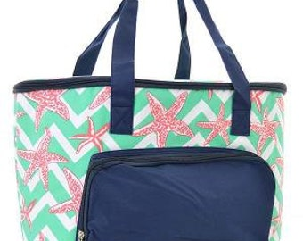 Insulated Cooler Bag.  Aqua Chevron Print with starfish.  Includes FREE Embroidery