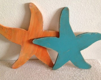 Starfish wood nautical wall art, disstressed wood starfish, coastal, beach decor, cottage decor, rustic decor