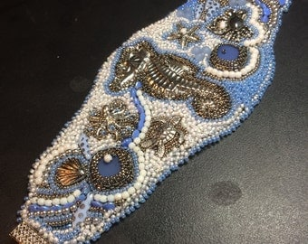 SOLD. Bead embroidery cuff.