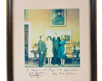 Lyndon Johnson US President & First Lady in the Oval office signed Photograph